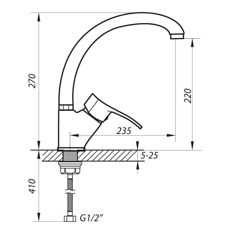 Змішувач для кухні ZERIX DYU 181 (ZX2895)