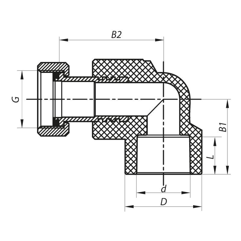 Кут з накидною гайкою 20x1/2F PPR KOER K0144.PRO (KP0182)