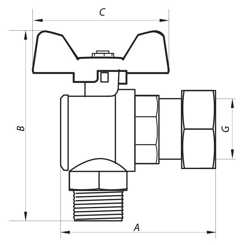 Кран шаровый с накидной гайкой УГЛОВОЙ 3/4 ГШБ (NF.841) NOLF (NF2960)