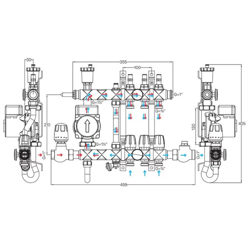 Колектор з вбудованим смесит. вузлом KOER KR.S1013-7 1
