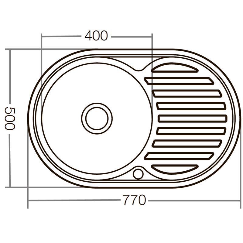 Мойка кухонная ZERIX Z7750-06-180E (satin) (ZX1594)