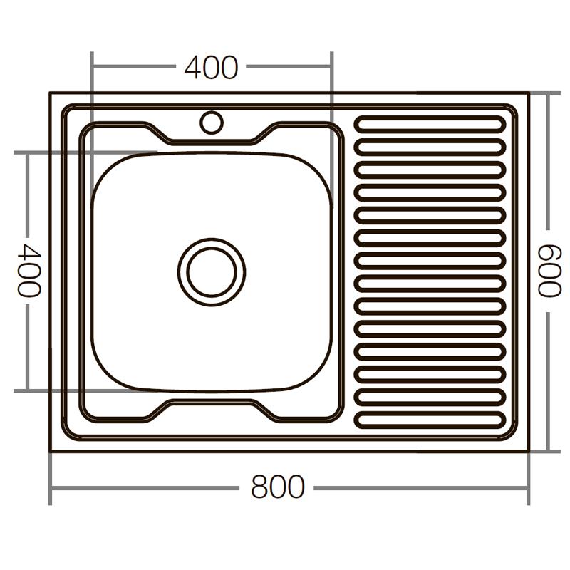 Кухонна мийка накладна ZERIXZ8060L-06-160E (satin) (ZX1616)