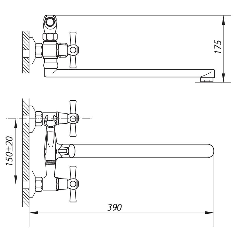 Смеситель для ванны ZERIX DMT-B 722 (ZX0410)