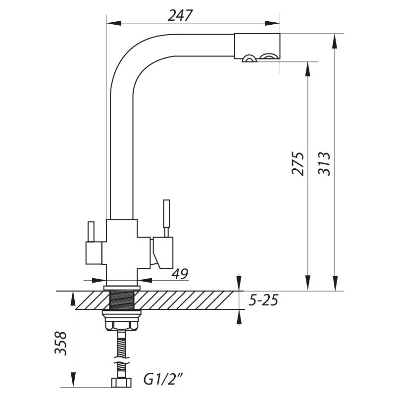 Змішувач для кухні ZERIX LR4355-3 з виходом для питної води (LL1201)