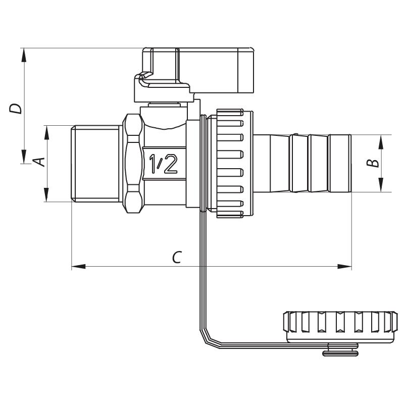 Кран дренажный 1/2'' KOER KR.1037 (KR2672)