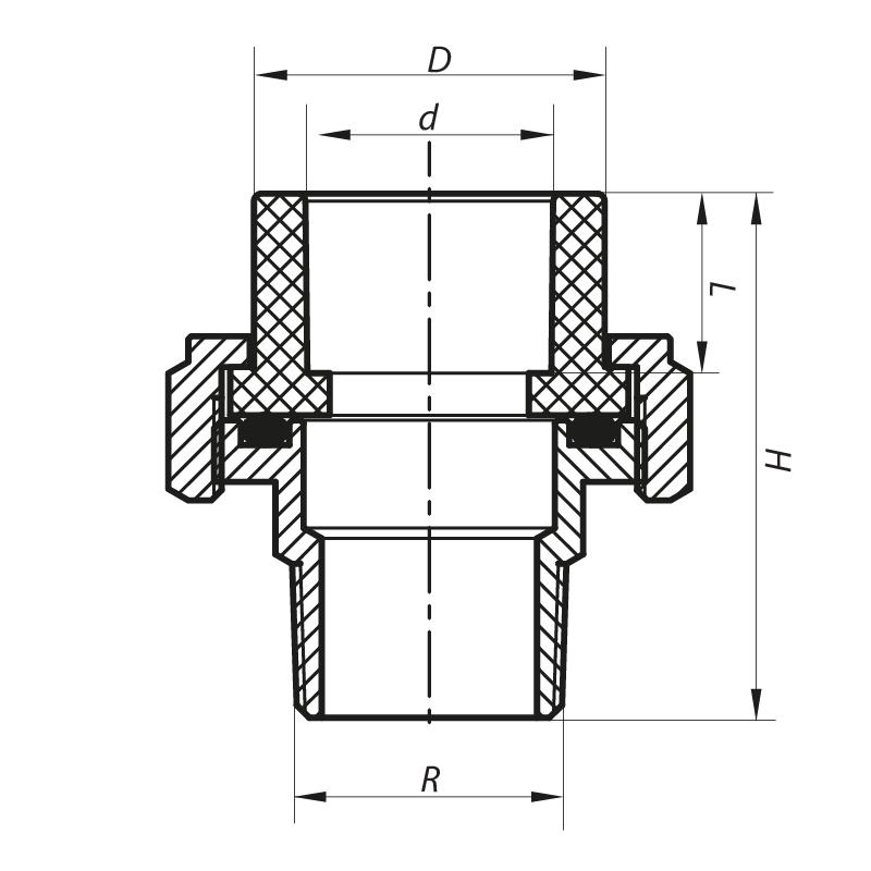 Сгон-американка НР 50x1.1/2M PPR KOER K0139.PRO (KP0175)
