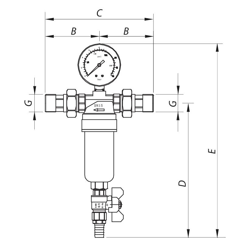 Фильтр самоочистной с манометром 3/4'' KOER KR.1250 (KR2657)