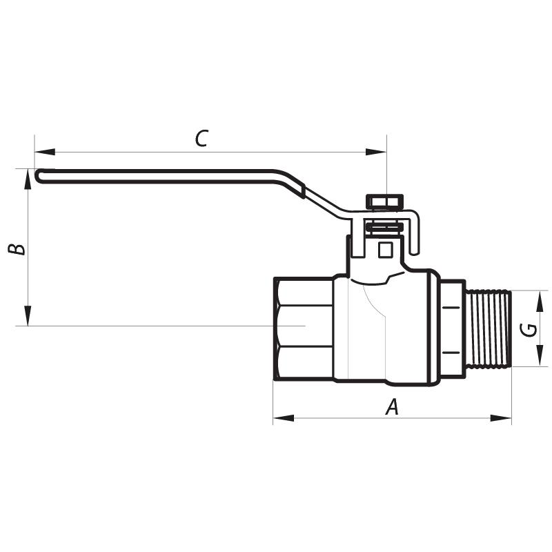 """Кран шаровый 1-1/2"""" ГШР (NF.621) NOLF (NF2934)"""
