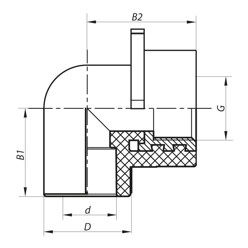 Кут інсталяційний для гіпсокартонних стін ВР 20x1/2F PPR KOER K0189.PRO (KP0244)