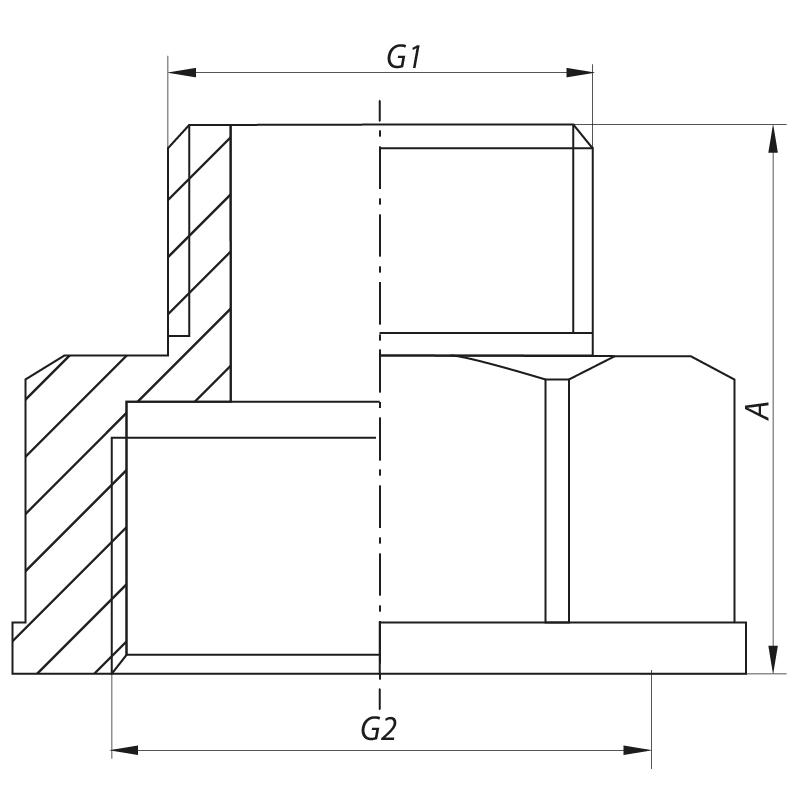 """Переходник (коннектор) 3/8""""х1/2"""" KOER KF.A0406 (KF0050)"""