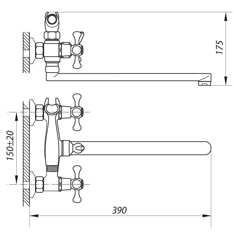 Змішувач для ванни ZERIX D4Q 827 (ZX0009)