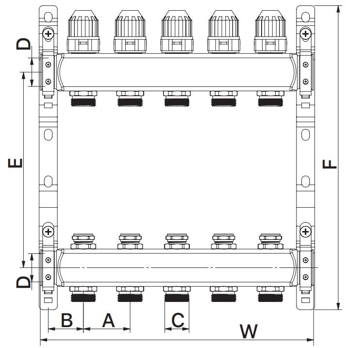 Коллекторный блок с термостат. клапанами EUROPRODUCT EP.S1100-04 1