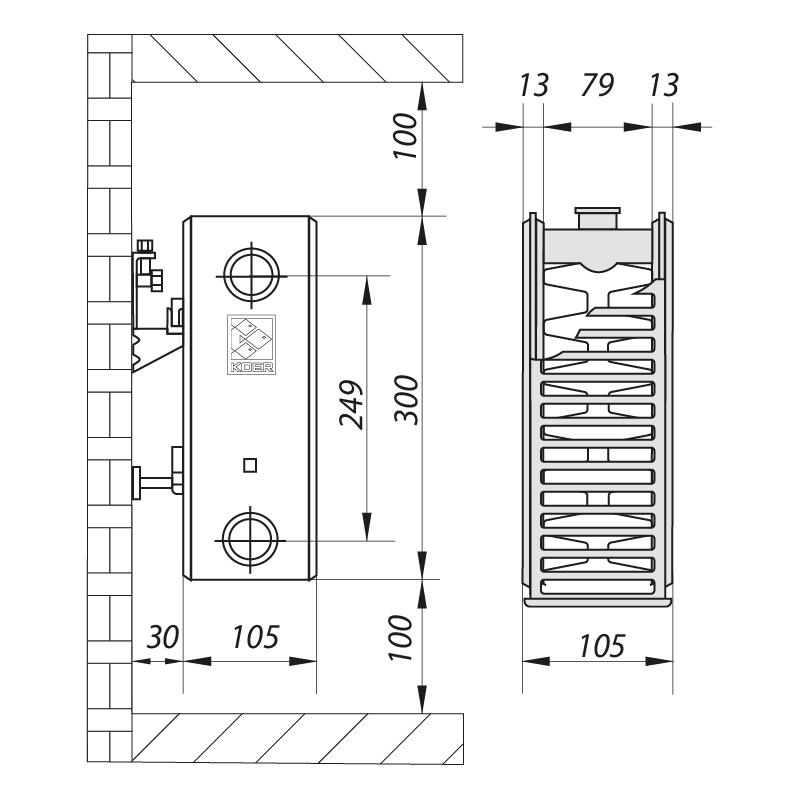 Стальной радиатор 22х300х1200.S KOER (бок. подключение) (RAD075)