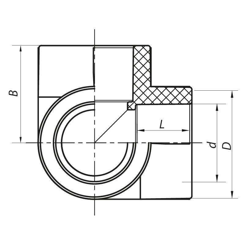 Угол с тремя выходами 25 PPR KOER K0030.PRO (KP0037)
