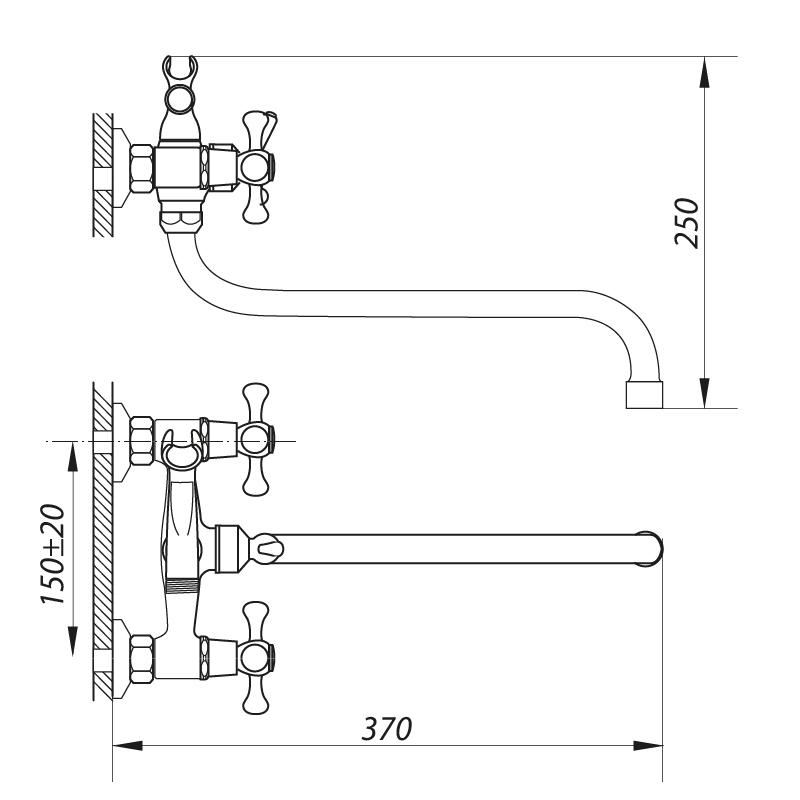 Смеситель для ванны ZERIX D3Q 722 (ZX0006)
