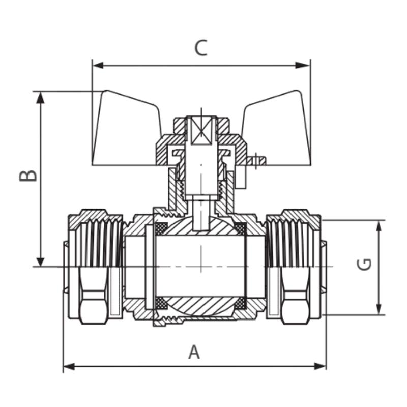 Кран шаровый KOER WING 16x16 (KR.353) (LL1657)