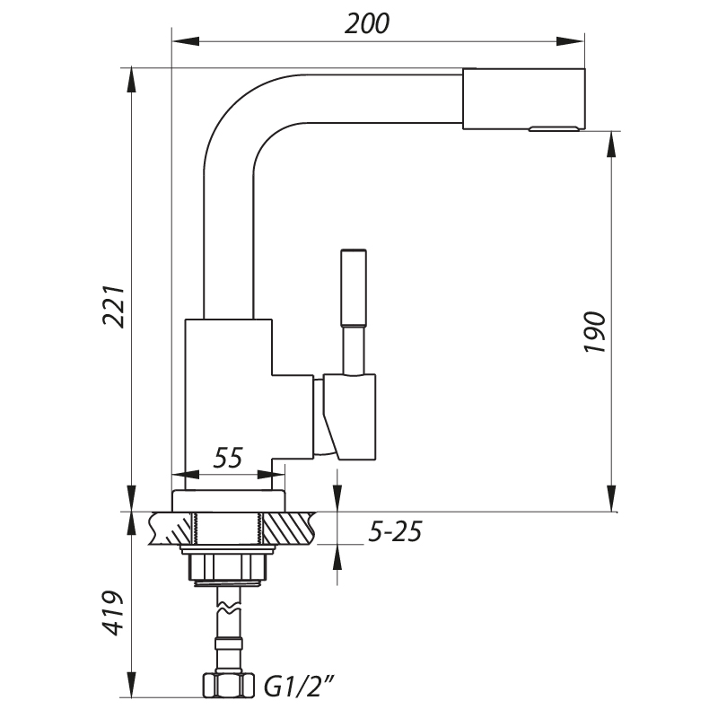 Смеситель для умывальника ZERIX LR1098-4 (LL1194)