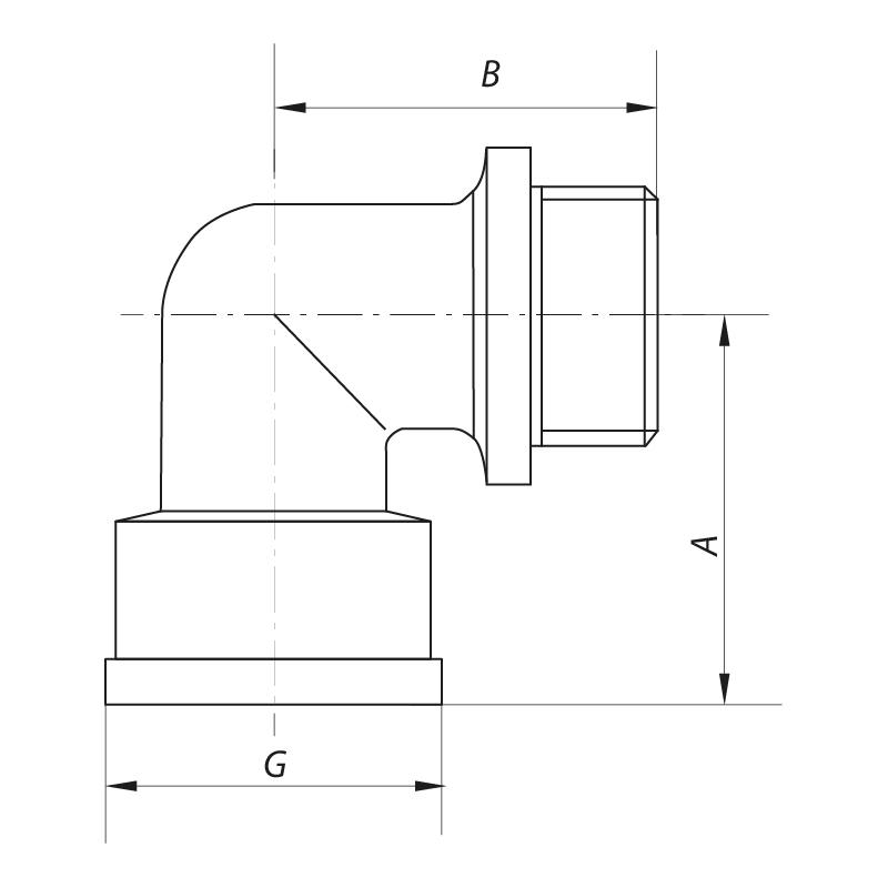 Угол 3/4'' НВ KOER KF.L08MF (KF0076)