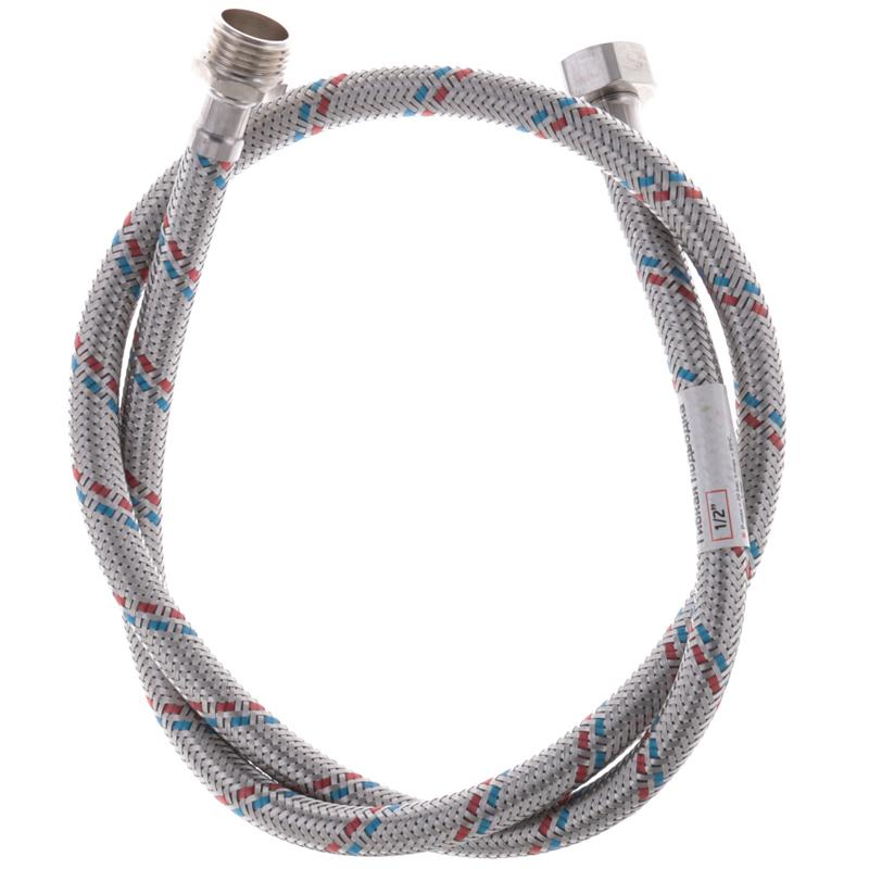 Гибкий шланг для подключения воды Гайка 1/2'' - Штуцер 1/2'' (100 см) ZERIX (ZX1565)