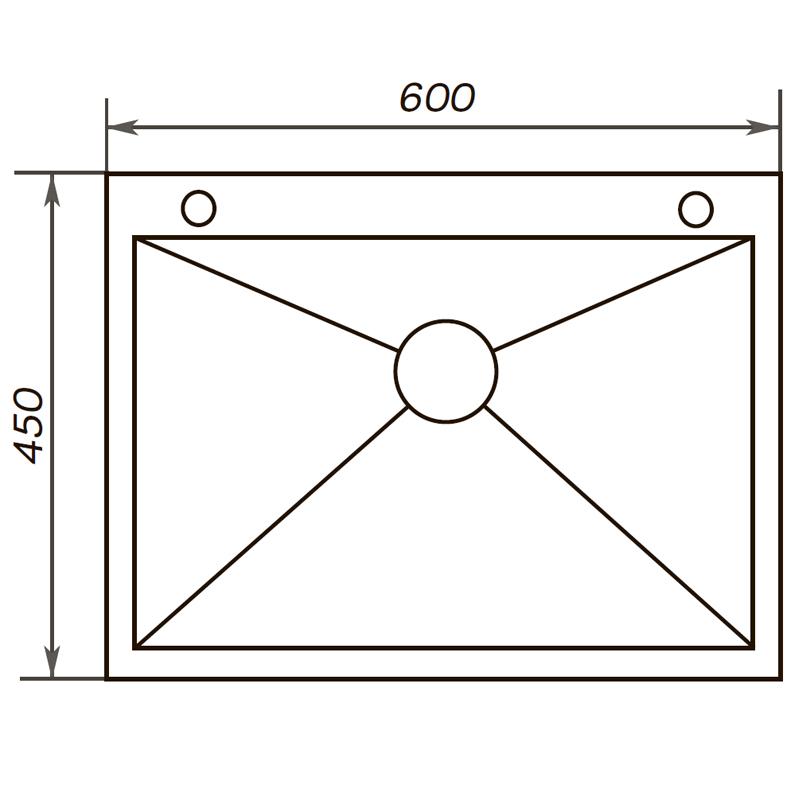 Мойка кухонная ZERIX ZUS6045(2)-HM (ZM0571)