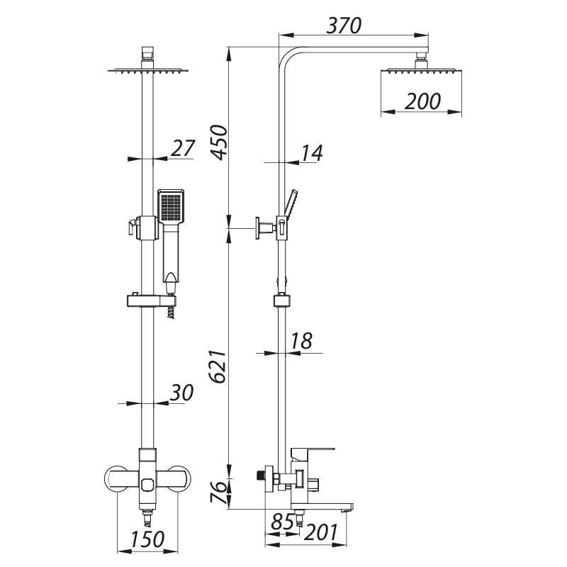 Душевая колонна со смесителем ZERIX LR72433 (нерж. сталь) (LL1474)
