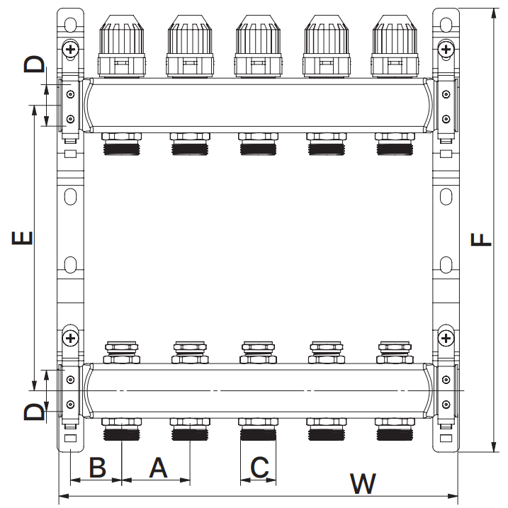 Колекторний блок з термостат. клапанами EUROPRODUCT EP.S1100-09 1
