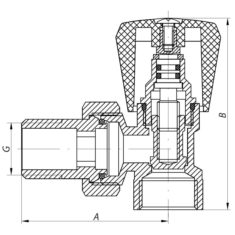 Вентиль радиаторный угловой (хромированный) 1/2x1/2 (KOER KR.901.CHR.W) (KR2820)