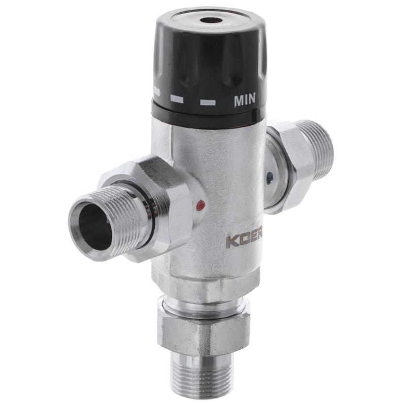 Клапан змішувач термостатичний триходовий 3/4'' (з накидн. гайками) KOER KR.1258 (KR2818)
