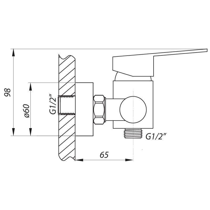 Смеситель для душа ZERIX LR72003 (LL1195)