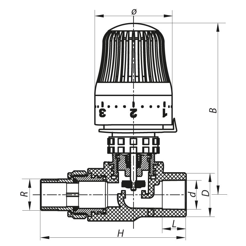 Кран термостатичний з термоголовкою прямий PPR 20x1/2 KOER K0155.PRO (KP0198)