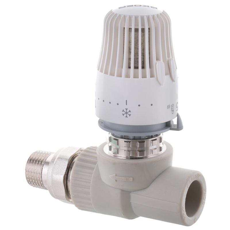 Кран термостатический с термоголовкой прямой PPR 20x1/2 KOER K0155.PRO (KP0198)