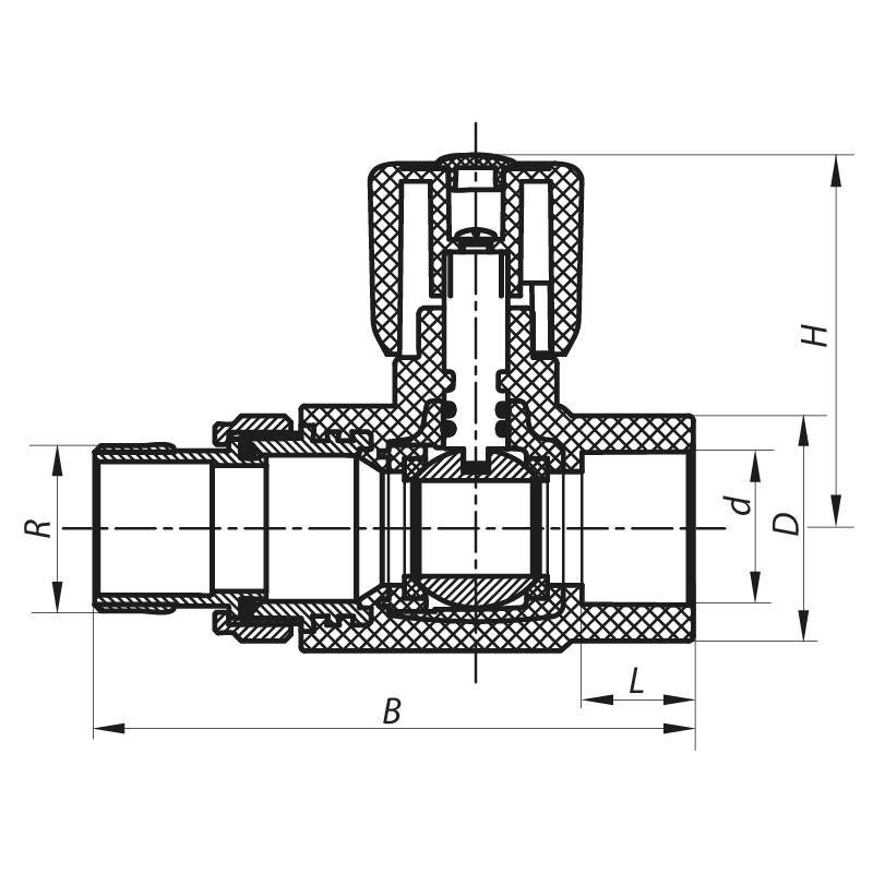 Кран радиаторный 20x1/2 прямой PPR KOER K0159.PRO (KP0204)