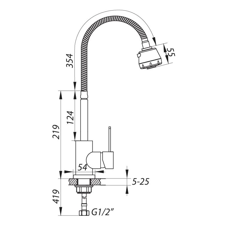 Смеситель для кухни ZERIX LR74304 с рефлективным изливом (LL1207)