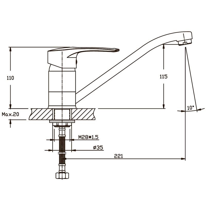 Змішувач для кухні Haiba GERMES 555 (HB0142)
