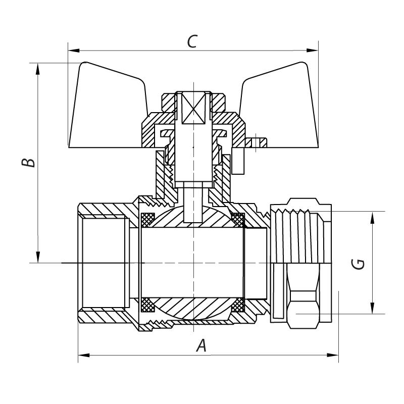 Кран шаровый KOER WING 16x1/2M (KR.351) (LL1656)