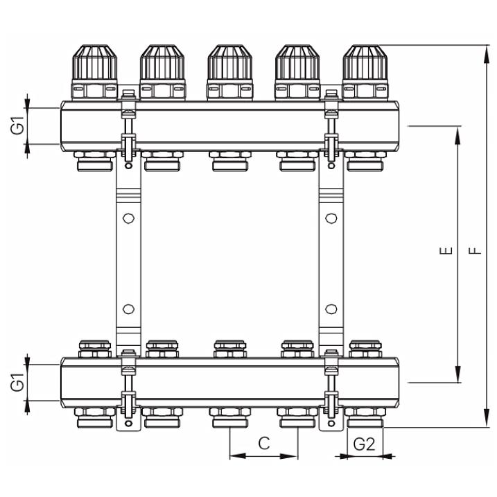 """Коллекторный блок с термостатическими клапанами KOER KR.1100-12 1""""x12 WAYS (KR2638)"""