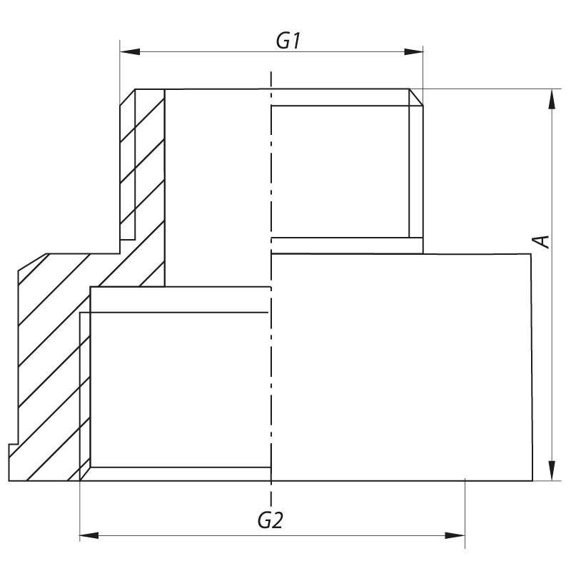 "Переходник (коннектор) 1/2""х1"" (хром) KOER KF.A0610.CHR (KF0135)"