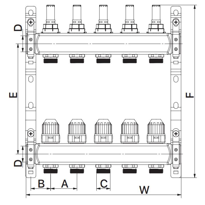 Коллекторный блок с расxодомерами EUROPRODUCT EP.S1110-07 1