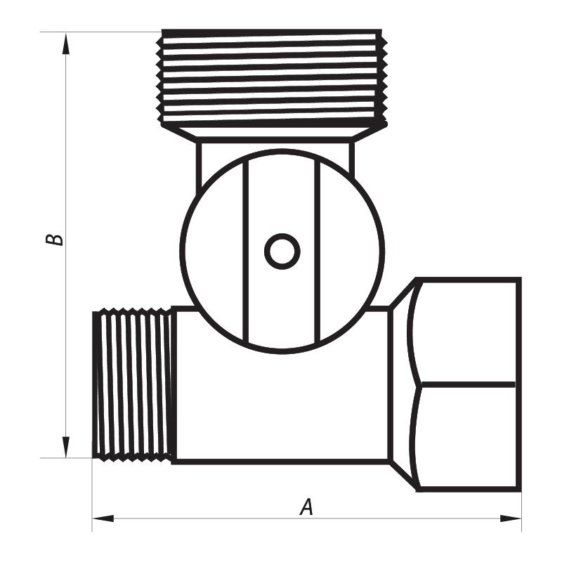 Кран для подключения сантехприборов 1/2Mx3/4Mx1/2F (NF.1110) NOLF (NF2971)