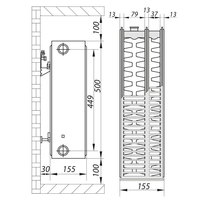 Сталевий радіатор 33х500х1200.S KOER (бок. підключення) (RAD124)