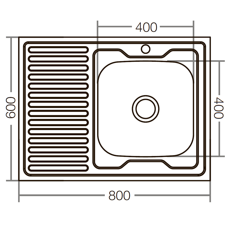Кухонная мойка накладная ZERIXZ8060R-06-160E (satin) (ZX1617)