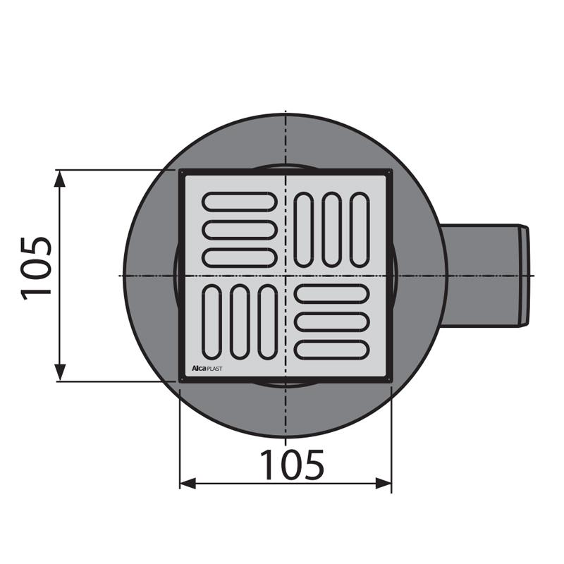 Сливной трап ALCAPLAST APV31 105x105/50мм (с бок. подвод., с гидрозатвором SMART) (AL0020)