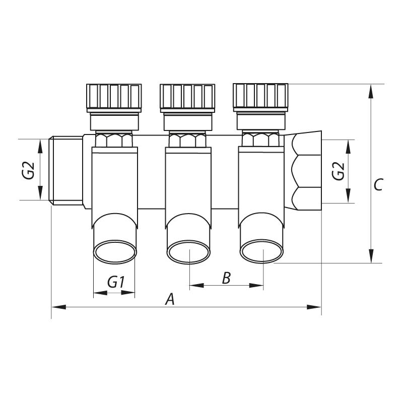 """Колектор вентильний з фитингом KOER KR.1123-2 3/4""""x2 WAYS (KR2829)"""