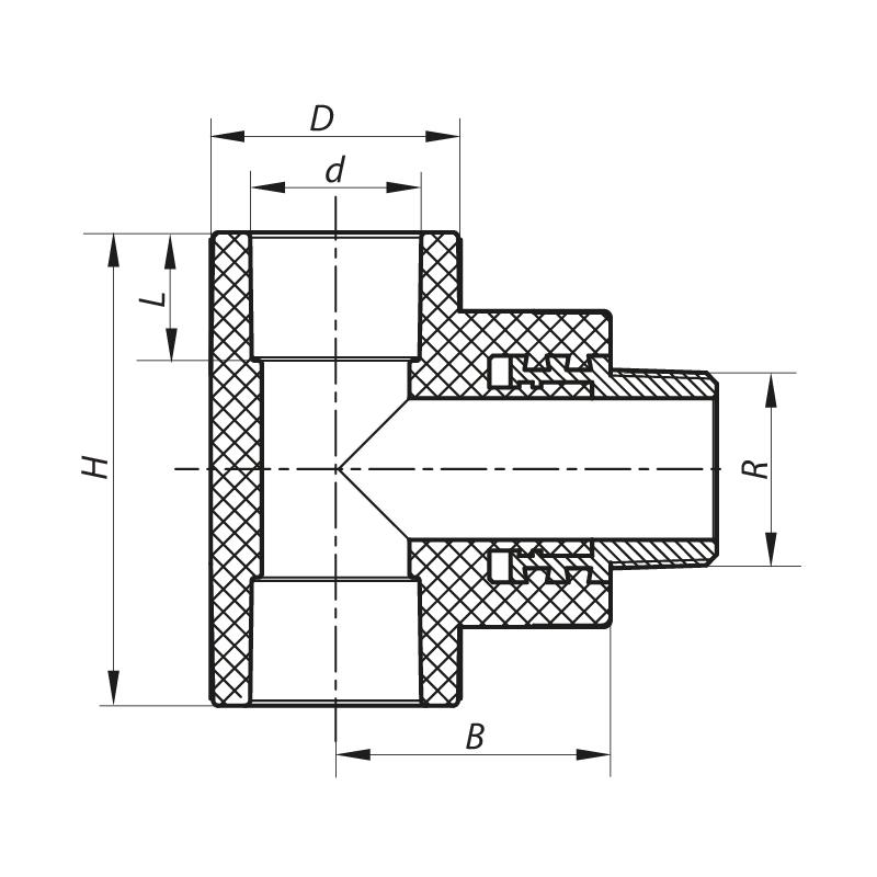 Тройник НР 32x1M PPR KOER K0112.PRO (KP0133)