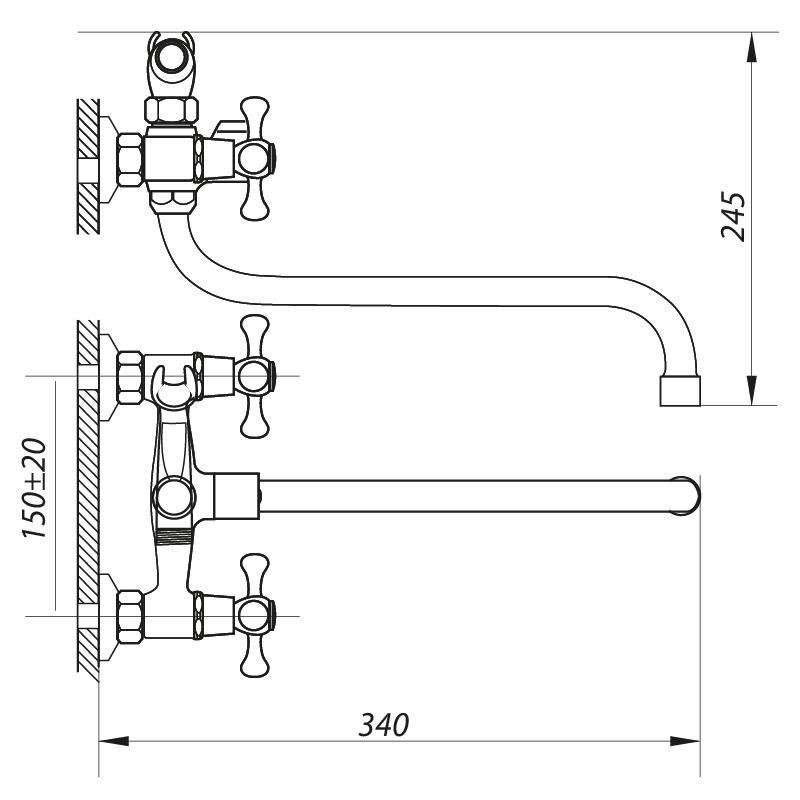 Змішувач для ванни ZERIX DMT 722 з полнооборотною кран буксой (ZX2961)