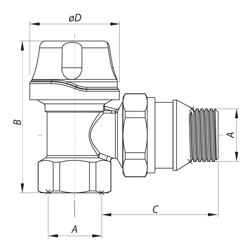 "Кран термостатический угловой 1/2"" KOER KR.921-GI (KR2682)"