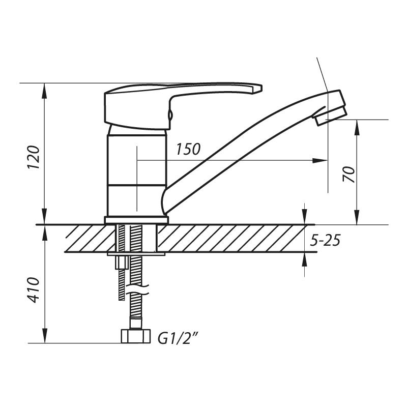 Змішувач для умивальника ZERIX PAN-B 279 (ZX0056)