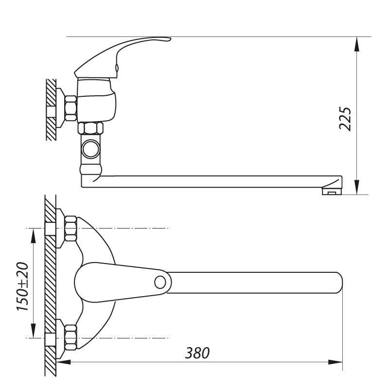 Смеситель для ванны ZERIX EYB 135 (ZX0034)