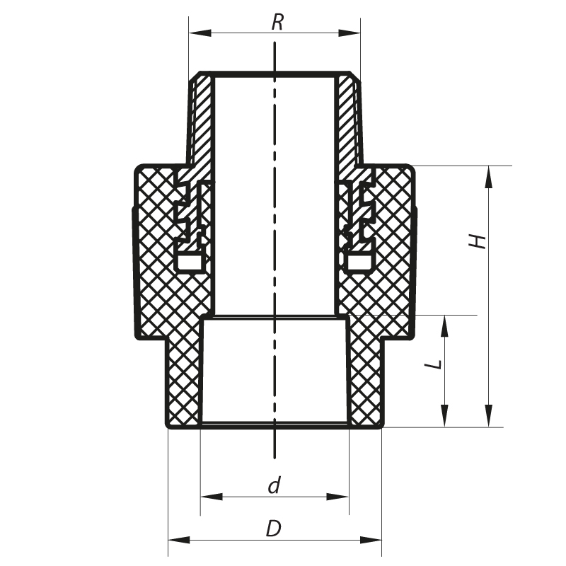 Муфта НР 25x1/2M PPR KOER K0096.PRO (KP0115)