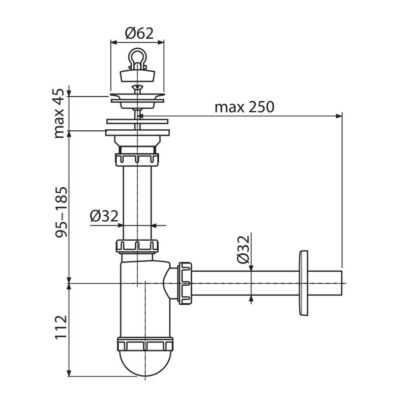 Сифон для умивальника ALCAPLAST A411 d32 (з нержавіючої гратами d63) (AL0024)